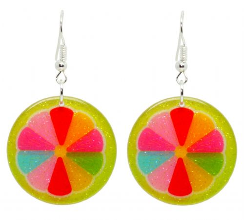 Bluebubble FEELIN FRUITY Glitter Fruit Slice Dangle Earrings with FREE Gift Box